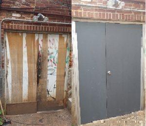 Commercial wood door replacement with metal door